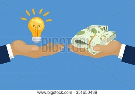 Exchange Light Bulb Idea And Dollars Banknotes Money, Vector Cartoon Illustration. Business Idea Con