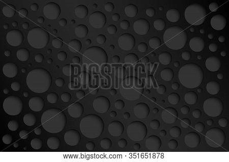 Black Abstract Perforated Background, Grey Perforated Circles With Shadows, Vector Illustration