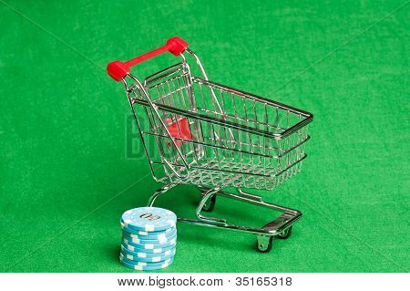 Shopping Cart With Casino Chips