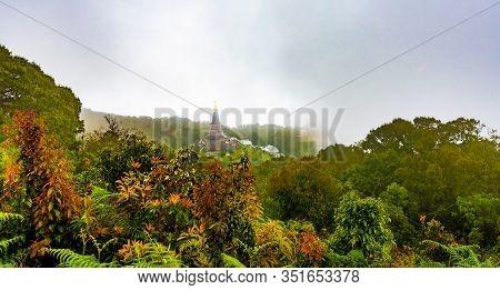 Landscape Two Pagoda At Kew Mae Pan Nature Trail, Doi Inthanon National Park , Chiang Mai , Thailand