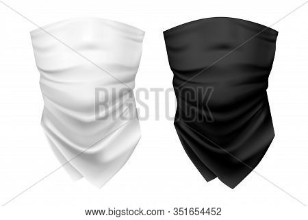 Blank Wear For Neck Or Set Of Realistic Black And White Scarf, Shawl Template. Woman And Man, Unisex