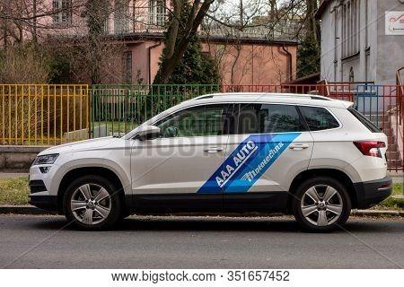 Ostrava, Czechia - February 19, 2020: White Skoda Karoq Suv Car Of The Aaa Auto Mototechna Company W