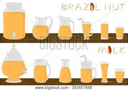 Big Kit Different Types Glassware, Brazil Nut Milk In Jugs Various Size. Glassware Consisting Of Org