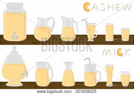 Big Kit Different Types Glassware, Cashew Milk In Jugs Various Size. Glassware Consisting Of Organic