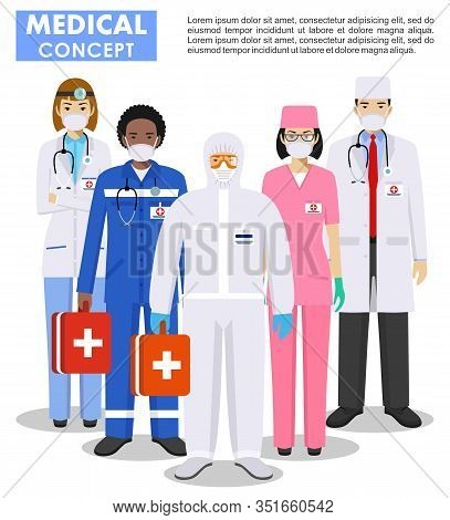 Medical Concept. Detailed Illustration Of Doctor And Nurses In Protective Suit And Mask In Flat Styl