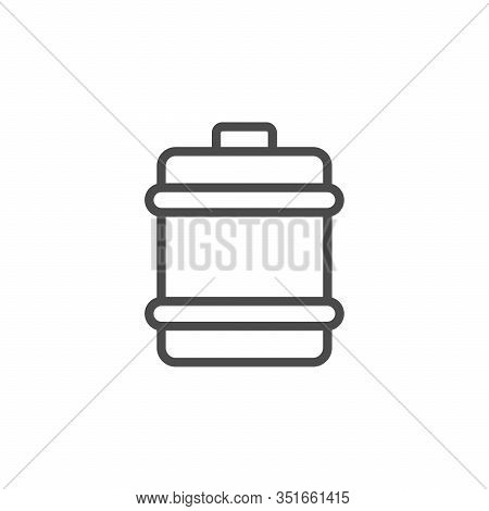 Barrel Line Outline Icon And Liquid Container Isolated On White. Storage Tank For Beverage, Oil, Pet