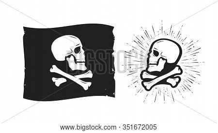 Jolly Roger, Pirate Flag. Skull And Crossbones Symbol Vector