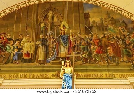New Orleans, Louisiana, United States - October 6,2019 King Fresco Mary Statue Saint Louis Basilica
