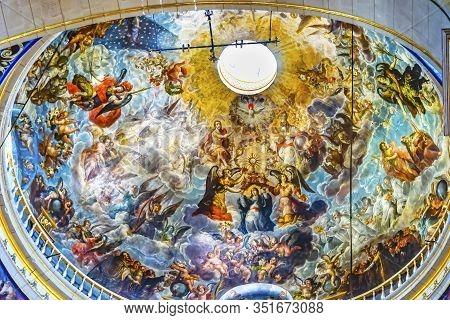 Puebla, Mexico - January 5, 2019 Basilica Colorful Dome Jesus God Mary Holy Spirit Fresco Ceiling Ca