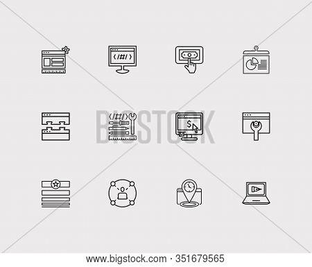 Seo Icons Set. Seo Optimization And Seo Icons With Earnings, Seo Copywriting And Social Network. Set