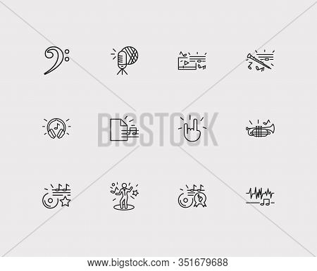 Melody Icons Set. Music Hit And Melody Icons With Bass Clef, Hand Horns, Night Club. Set Of Gesture