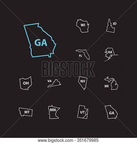 Cartography Icons Set. Florida And Cartography Icons With Wisconsin, Utah And Tourism. Set Of Ohio F