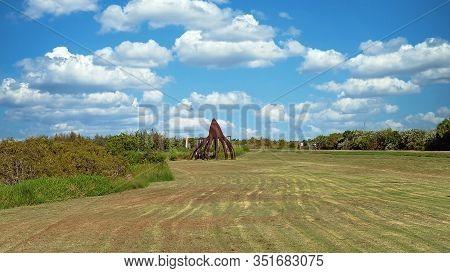 Mackay, Queensland, Australia - February 2020: A Steel Statue Representing A Mangrove Seed Pod Situa
