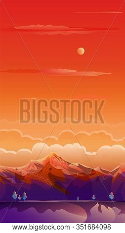 Sunset Summer Rocky Mountain landscape, sunrise sky sun clouds mounts drawing, travel, voyage, adventure in nature, landing page background, beautiful red, orange, purple bright color gradient poster Japan abstract vector social media illustration banner