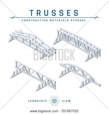 Concrete Trusses In Isometric View, Vector Icon