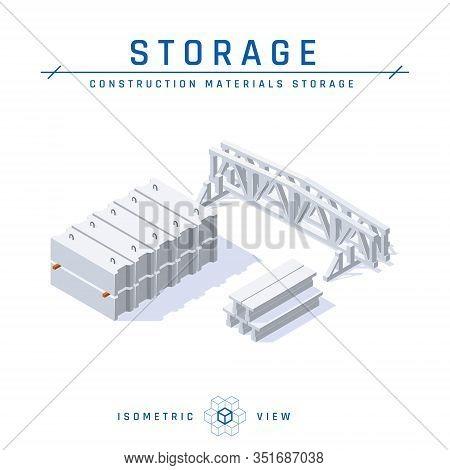 Concrete Storage In Isometric View, Vector Icon