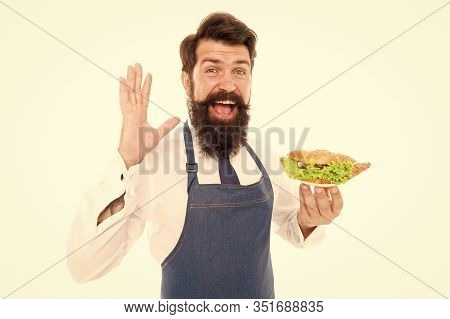 Enjoy Taste Of Dieting Right. Dieting Expert Isolated On White. Happy Cook Hold Dish. Diet Food. Die