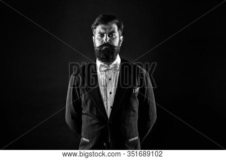 Retro Hipster. Hipster With Stylish Haircut. Brutal Hipster With Thick Beard Hair. Bearded Man In Cl