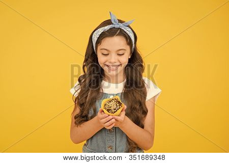 Delicious Cupcakes. Little Child With Muffin On Yellow Background. Treat Someone With Sweets. Yummy