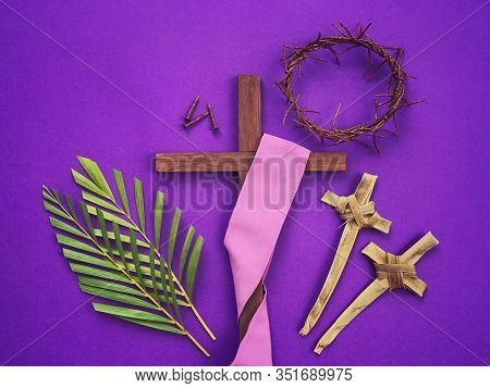 Good Friday, Lent Season, Palm Sunday, Ash Wednesday And Holy Week Concept. A Christian Cross, Three