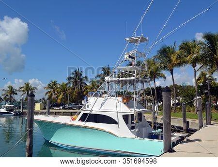Charter Sport Fishing Boat Docked At A Key Biscayne,florida Marina