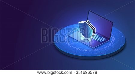 Laptop With Protected Guard Shield Security Concept. Security, Privacy Or Other Concept Illustration