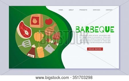 Barbeque Cooking Web Template With Grill Top View, Bbq And Grilled Food Steak, Chicken, Vegetables,