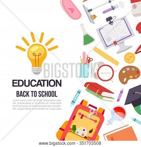 Childrens Education And 1 September Back To School Vector Illustration. Backpacks, Pens, Colors, Che