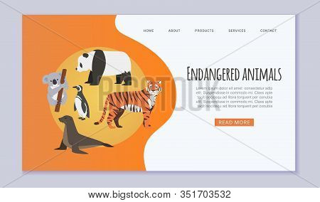 Endangered Vanishing Wildlife Animals Website Vector Template. Amur Tiger, Panda, Penguin, Sea Seal