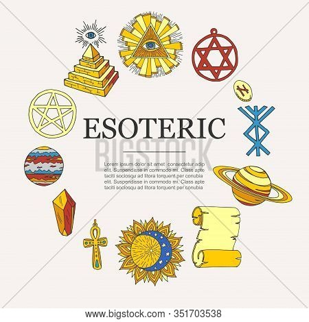 Esoteric Symbols And Occult Objects Poster, Vector Illustration. Cartoon Esotery Manuscript, Eye In
