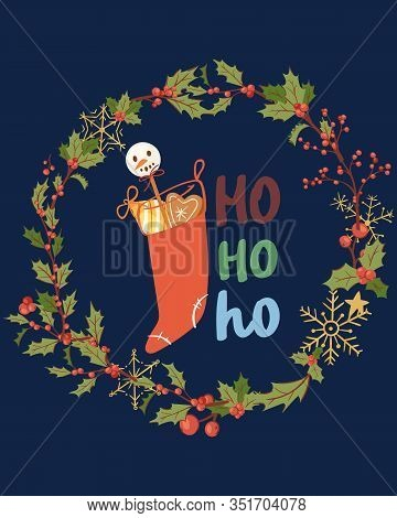Merry Christmas Greeting Card With Hohoho Lettering, Mistletoe Wreath And Santa Sock With Presents C
