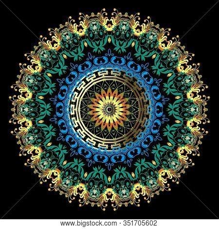 Gold Baroque Vector Mandala Pattern. Vintage Background. Greek Key Meander Ethnic Style Floral Manda