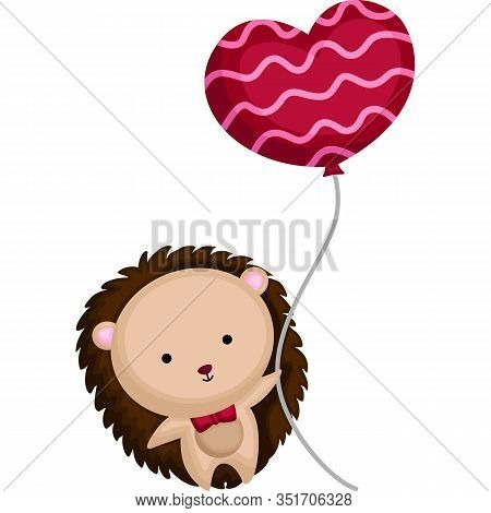 Porcupine With Red Bowtie And Heart Balloon
