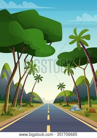 Long Road Among The Jungle. High Way Through Mountains And Palms Somewhere In Asia