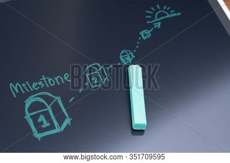 Milestone For Project Or Life Planning Concept, Green Chalk Drawing Milestone With Number On The Pat