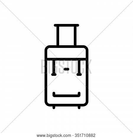 Black Line Icon For Tie Suitcase Portmanteau Valise Satchel Baggage Luggage Case Portifolio Travel