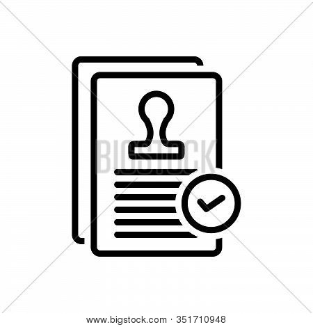Black Line Icon For Agreement Annexure Appendage Appurtenance Treaty Pact  Compliance Compromise Rec