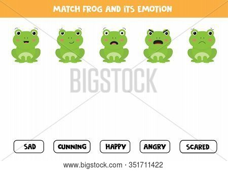 Match Frog And Its Emotion. Logical Game For Kids. Feelings And Emotions.