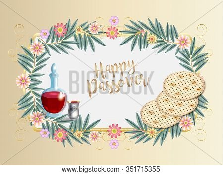 Jewish Holiday Passover, greeting card decoration and place for text with decorative traditional icons kiddush cup, four wine glass, matzo matzah - jewish traditional bread for Passover seder, pesach plate, Haggadah, floral frame paper blank vector