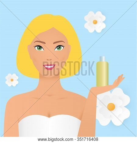 Beauty Spa Woman With Perfect Skin Portrait. Beautiful Blonde Spa Girl Showing Cosmetics Copy Space