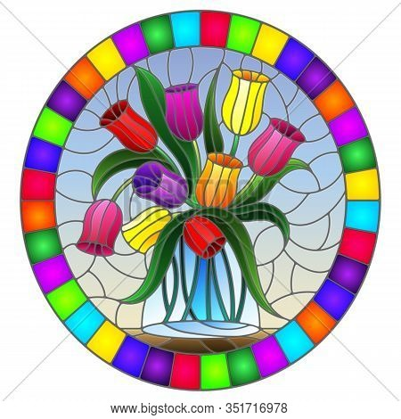 Illustration In Stained Glass Style With Still Life, Bouquet Of  Tulips In A Glass Jar On A Blue Bac