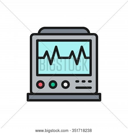 Ekg Machine With Pulse, Icu Monitor, Electrocardiograph Flat Color Line Icon.