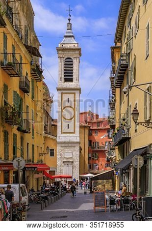 Nice, France - May 23, 2019: View Onto Famous Place Rossetti And Sainte Reparate Cathedral Basilique