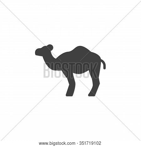 Dromedary Camel Vector Icon. Filled Flat Sign For Mobile Concept And Web Design. Camel Animal Glyph