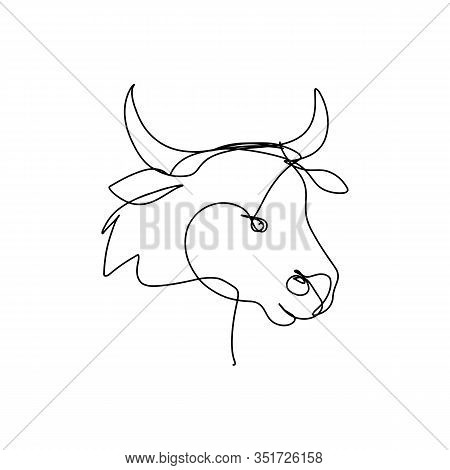 Continuous Line Art, Hand Drawn Bull Head. 2021 Chinese New Year Symbol. Cow Portrait, Hand Drawn Ox