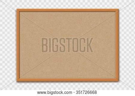Empty Office Cork Bulletin Board Template For Worksheet. Mockup Isolated On A Transparent Background