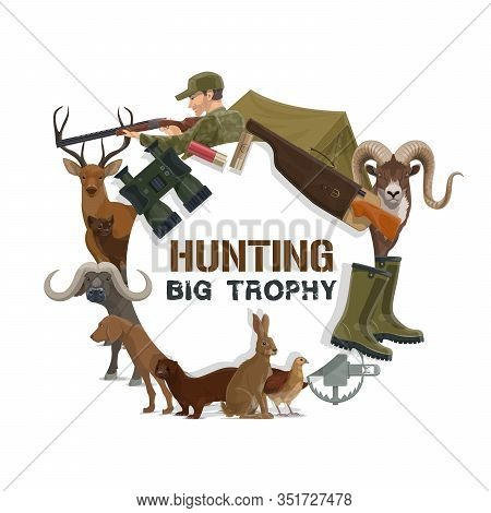 Hunting Sport Trophy Icon With Vector Hunter Guns, Equipment And Animals. Hunting Dog, Rifle And Dee