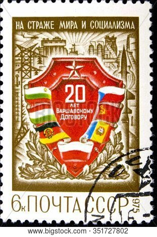 02 08 2020 Divnoe Stavropol Territory Russia Postage Stamp Ussr 1975 The 20th Anniversary Of Warsaw
