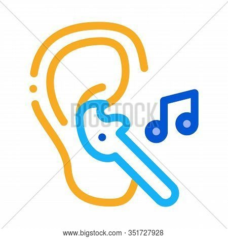 Earphones Music Icon Vector. Outline Earphones Music Sign. Isolated Contour Symbol Illustration