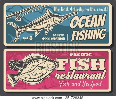 Fish And Fisherman Rod Retro Banners Of Fishing Sport Club And Seafood Restaurant Menu Vector Design